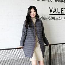 Женская Зимняя Куртка Стеганые Пальто Новый Пиджаки Утолщенный Легкие Скалозуб Куртка Полный Молния Длинном пальто Плюс Размер
