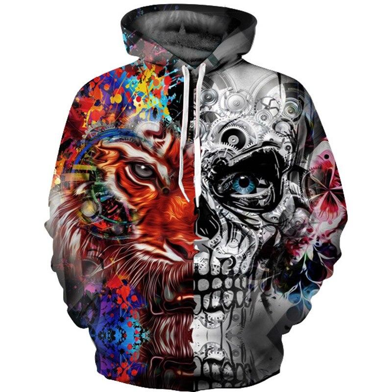 2017 3D Hoodies Men Hooded Sweatshirts Skull 3D Print Casual Pullovers Streetwear Tops Autumn Regular Hipster
