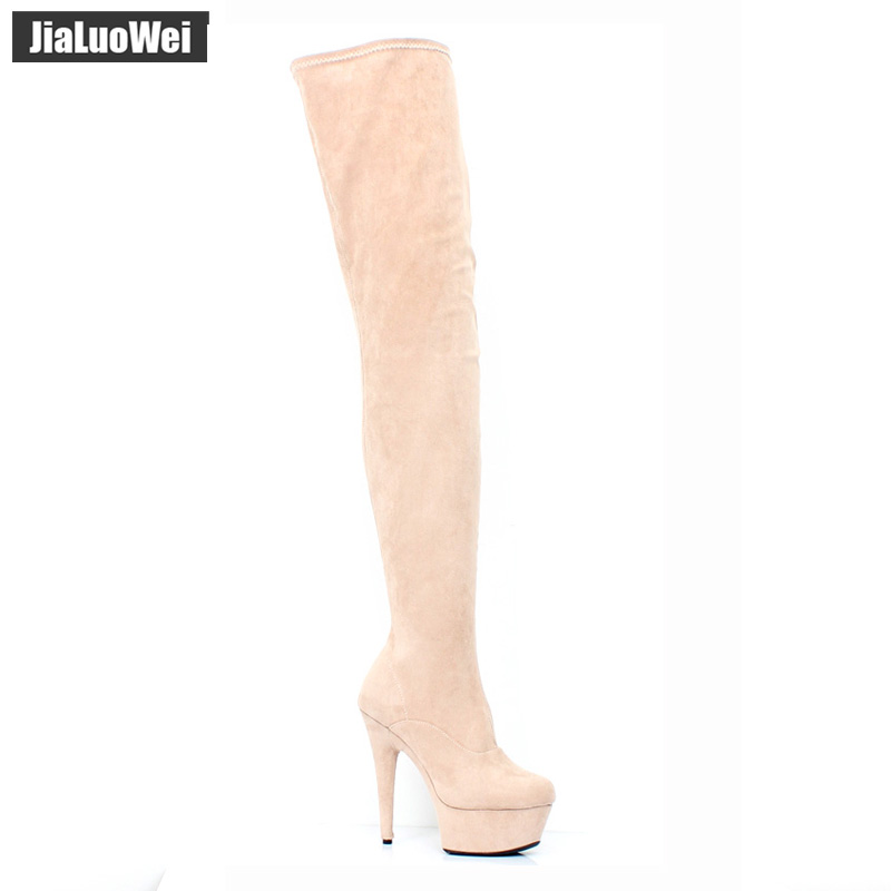 jialuowei 2018 New Women High Heels Over the Knee Boots With Platform Nude Color Round Toe Sexy Flock Long Boots Autumn Winter футболка с полной запечаткой женская printio песик с шариком