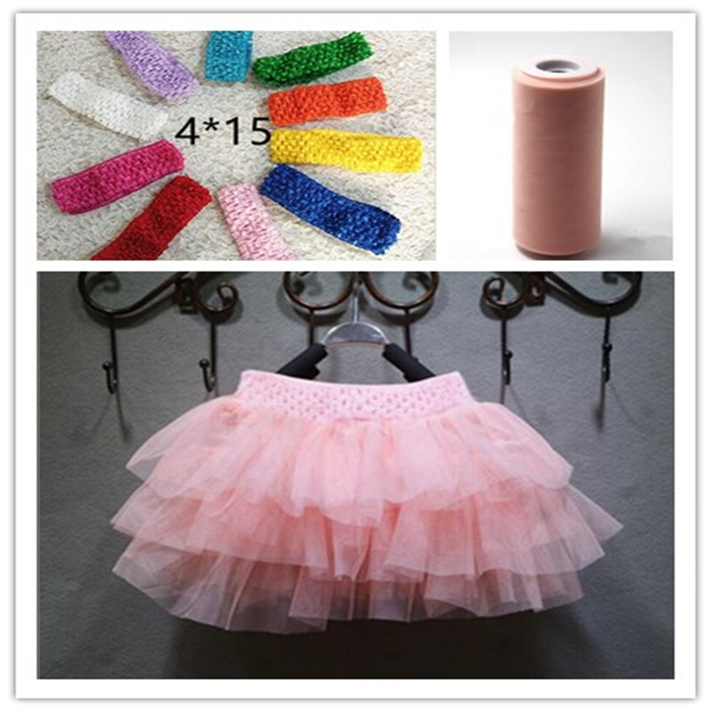 New415cm DIY Baby Girls Tutu Skirt Hair Bow Elastic Stretched