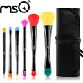 MSQ 6pcs Double End Makeup Brush Set Soft Multicolor Synthetic Hair Cosmetics Pincel Maquiagem With Canvas Black Case