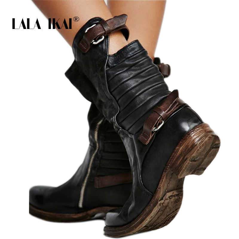 LALA IKAI Kış Kadın Çizmeler Siyah Fermuar Toka Med Topuk PU Deri Yuvarlak Toe Bayanlar Batı Buzağı Boots Ayakkabı 014A2190 -45