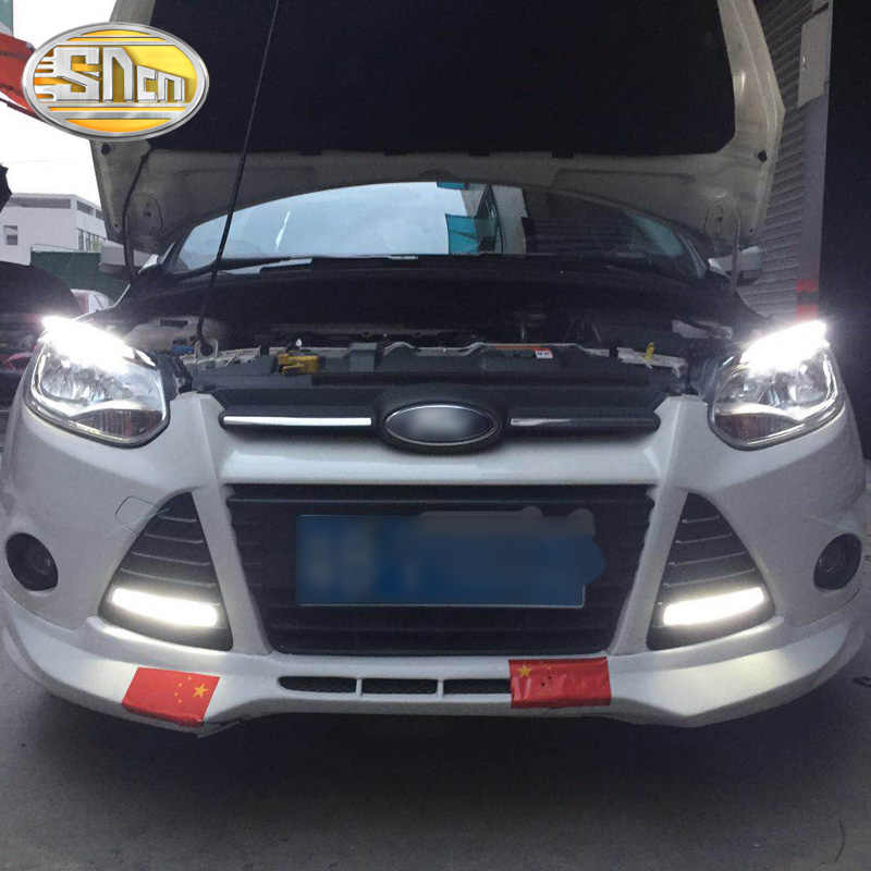 For Ford Focus 3 Mk3 2012 2015 Led Headlight Brow Eyebrow Daytime Running Light Drl With Yellow Turn Signal Light