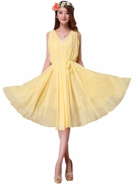 90d6584e268d Women's Yellow Double V Neck Chiffon Holiday Beach Midi Flare Dress Plus  Size Bridesmaid Sundress