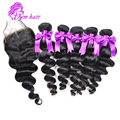 Brazilian Virgin Hair Loose Wave With Closure Unprocessed Virgin Hair 3bundles With Lace Closure Cheap Brazilian Loose Wave