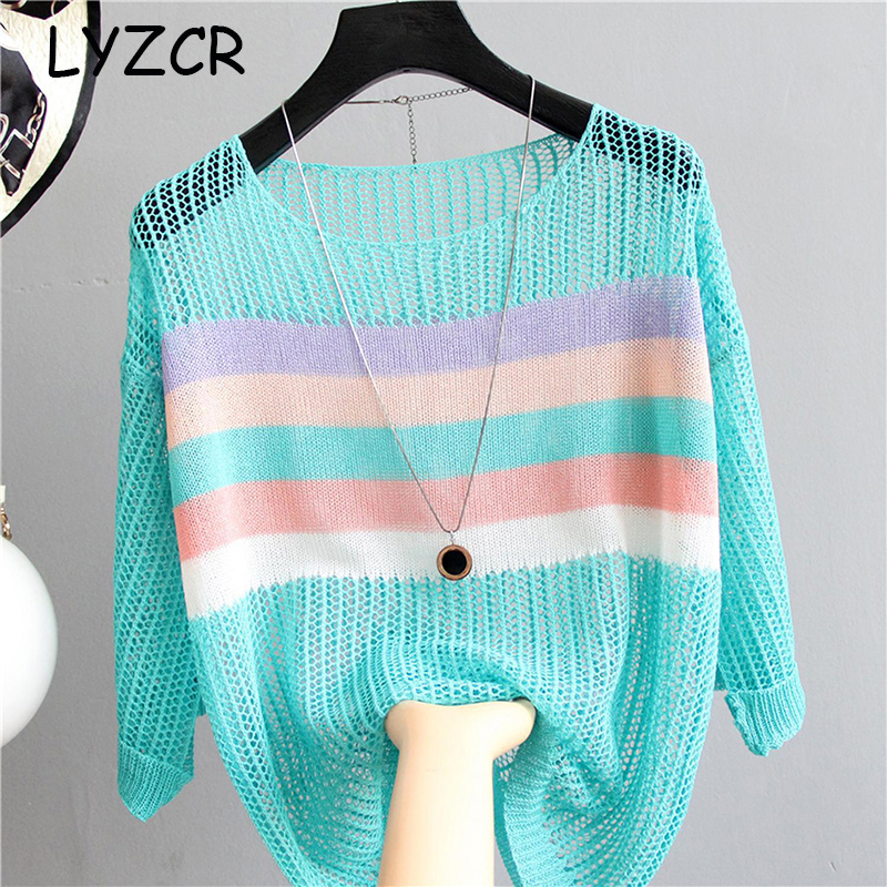 Loose Knitted Patchwork Blouse Women Pullovers Womens Tops And Blouses Female Knitted White Shirt Ladies Tops For Summer