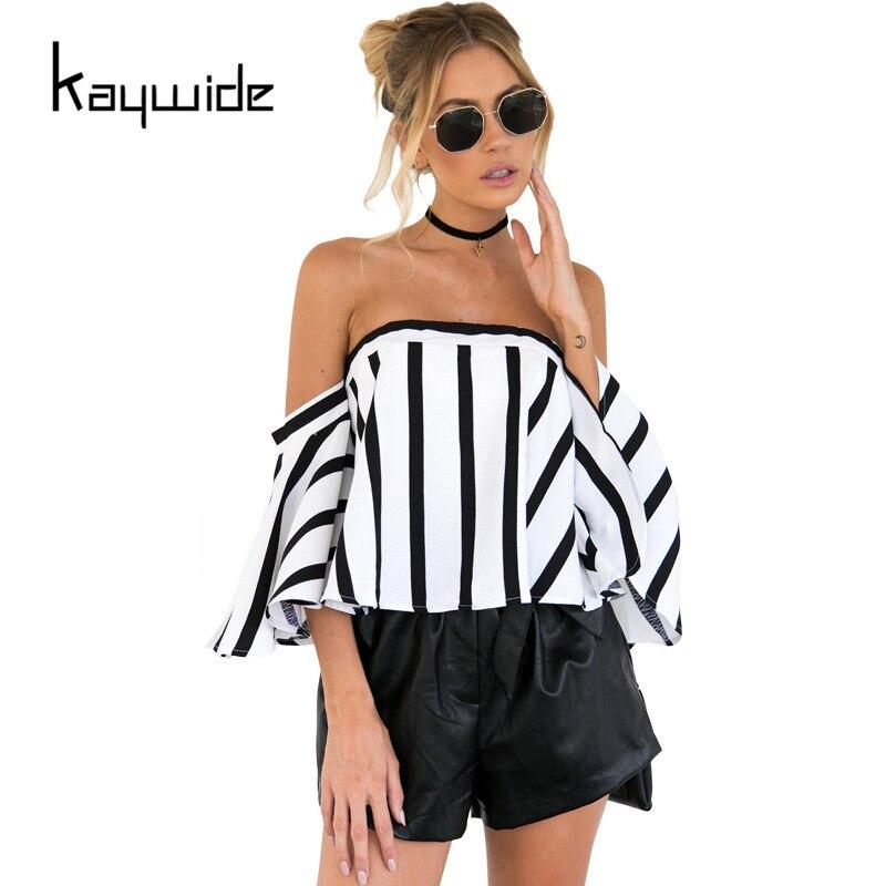 Kaywide 2017 nuevo verano del hombro blusa a rayas camisas mujeres flare dígitos