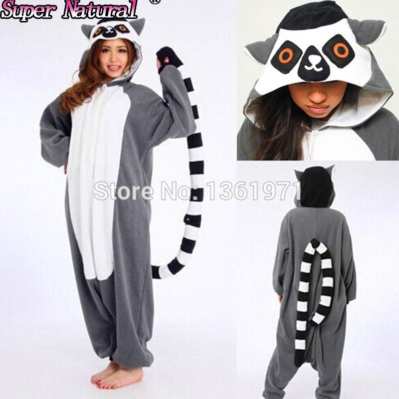hksng new lemur long tail catta monkey pajamas animal winter onesie adults halloween cosplay costume party gift - Halloween Monkey Costumes