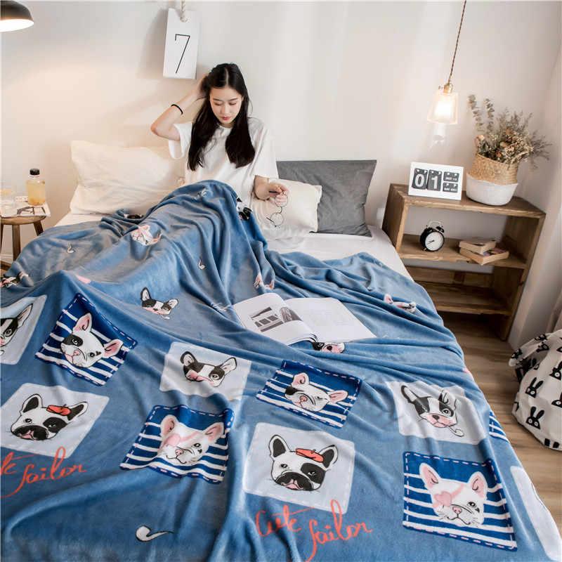 Брендовое Флисовое одеяло с рисунком животных для детей, покрывало для дивана с бульдогом, 1 шт., зимние украшения для дома