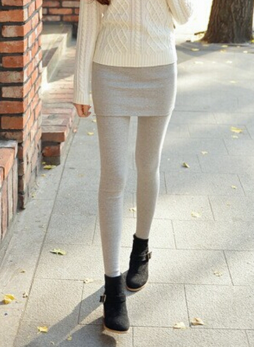 One-Piece Skirt Leggings For Women Fashion Solid Slim Legging Skinny Footless Pants Skirts Gray Black DD8008