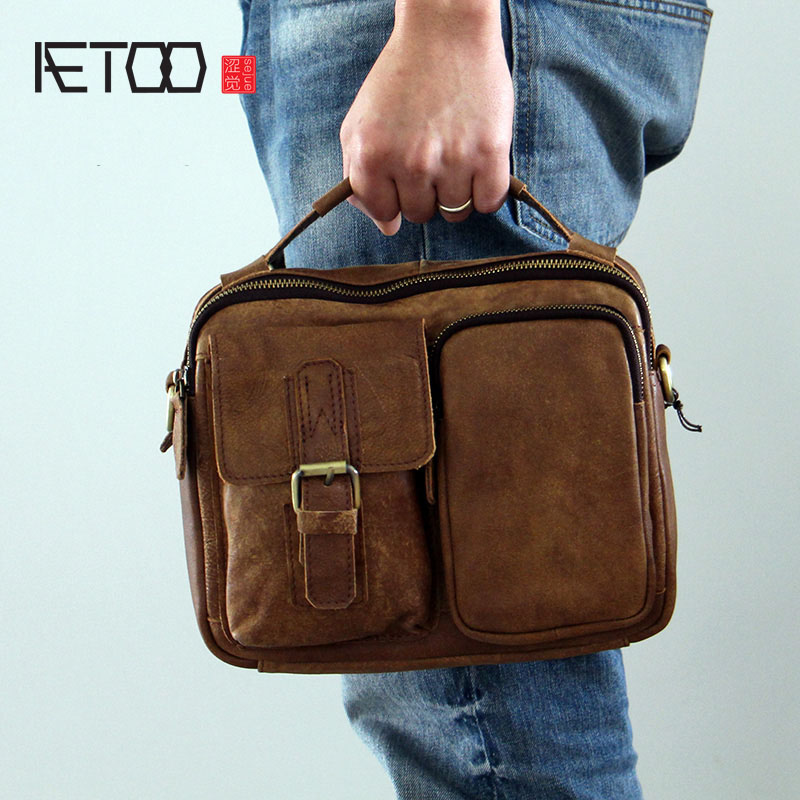 AETOO  Original handmade leather men bag shoulder Messenger bag retro men bag handbag casual leather bag makeup brushes set tool 18 15pcs brushes