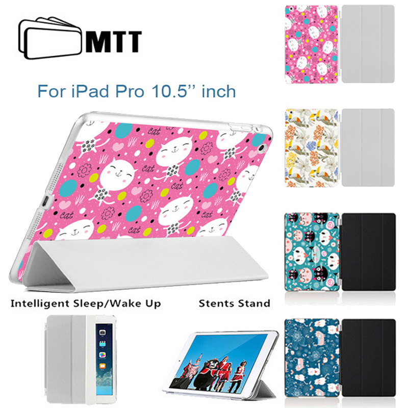 MTT Cute Cartoon Cat Cover For Apple iPad Pro 10.5 inch Case PU Leather Smart Stand 3-Foldable Tablet Cases for iPad 10.5 inches
