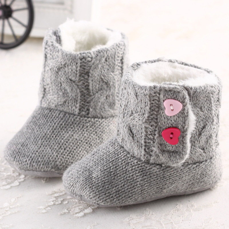Winter Girl Snow Boots Crochet Knit Fleece Baby shoes Toddler Wool Infant warm soft cotton bottom shoe 2016 new hot sale gift