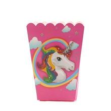 6pcs / lot 유니콘 패턴 접는 사탕 팝콘 상자 생일 파티 웨딩 사탕 만화 호의 가방 종이 크리스마스 선물 가방