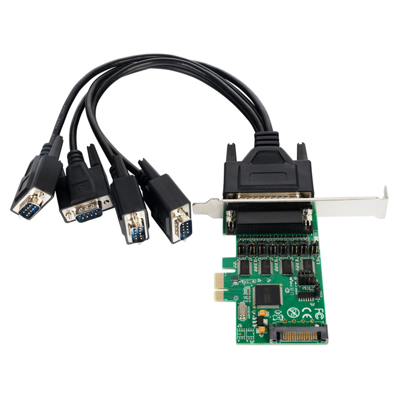 4 way RS-232 Serial Port COM PCI express card PCI-e Multi DB9 5VDC 12DV power