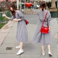 2016 Spring New Arrival Summer Women Preppy Style Vintage Wiastband Plaid One-piece Dress S-XL