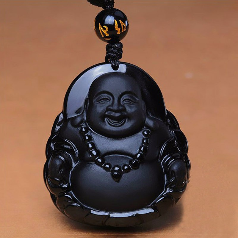 TNUKK  Fashion Natural Black Obsidian Carved Unique Laughing Buddha Lucky Pendant Amulet Necklace Fine Stone Crystal Jewelry