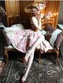 Лето 2014 Le Palais можете настроить Урожай Элегантный Ретро Розовый Большой Кран Сращивание Хлопок Женщины Корсет Платье БЕСПЛАТНАЯ ДОСТАВКА