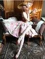 Verão 2014 Le Palais pode personalizar Elegante Do Vintage Retro Rosa Grande Guindaste Splicing Algodão Mulheres Corset Vestido FRETE GRÁTIS