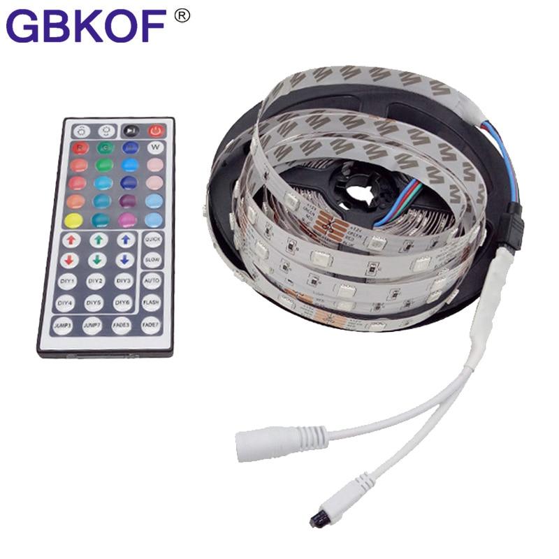 non waterproof 5050 RGB LED strip light 5m 2835 300 leds 60LEDs/M led tape diode ribbon with 24Key/44key RGB remote controller rgb led strip light 5050 10m 5m 30leds m led tape waterproof diode ribbon 44key 24key music remote controller dc12v adapter set