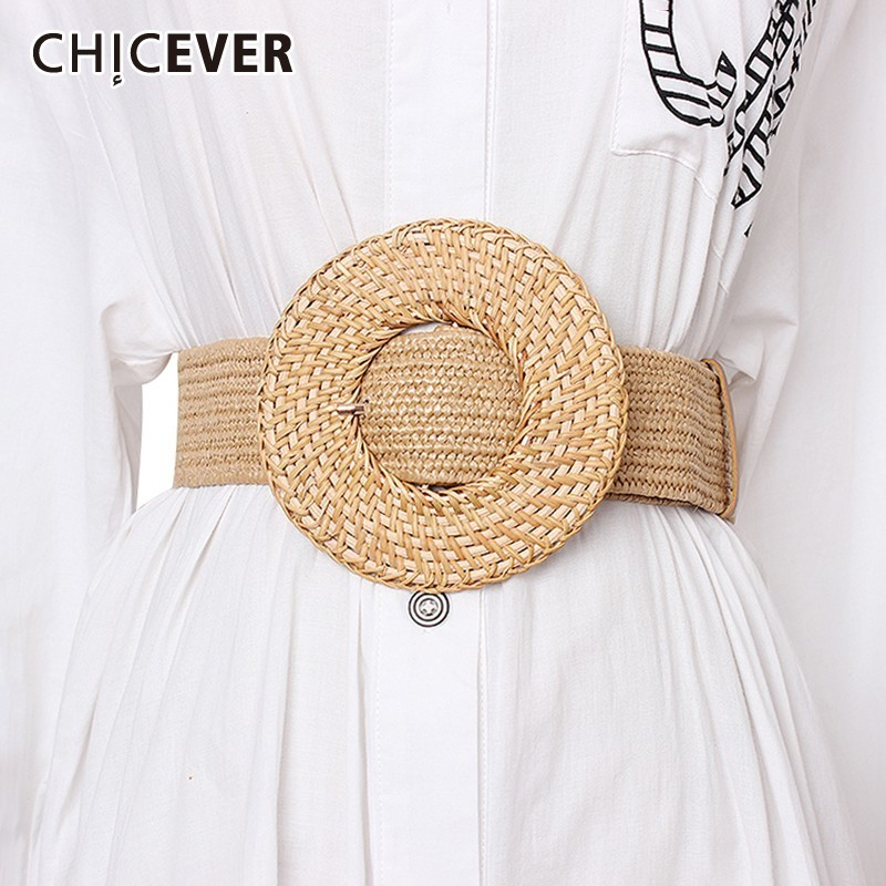 CHICEVER Vintage Dresses Accessories Fashion New Tide 2020 Summer High Waist Striped Widely Belt For Women
