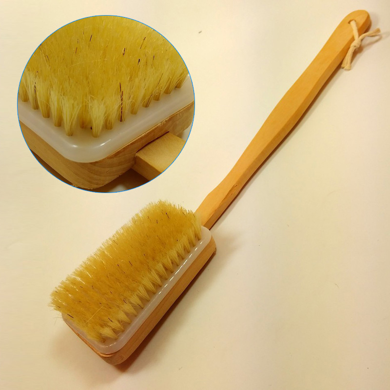 New natural wooden shower body bath brush massager soft bristles sponge bath shower spa scrubber h7jp
