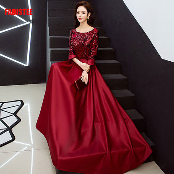 FADISTEE New arrival elegant prom party dresses formal dress sequin pattern A-line Burgundy evening gowns vestido noiva sereia