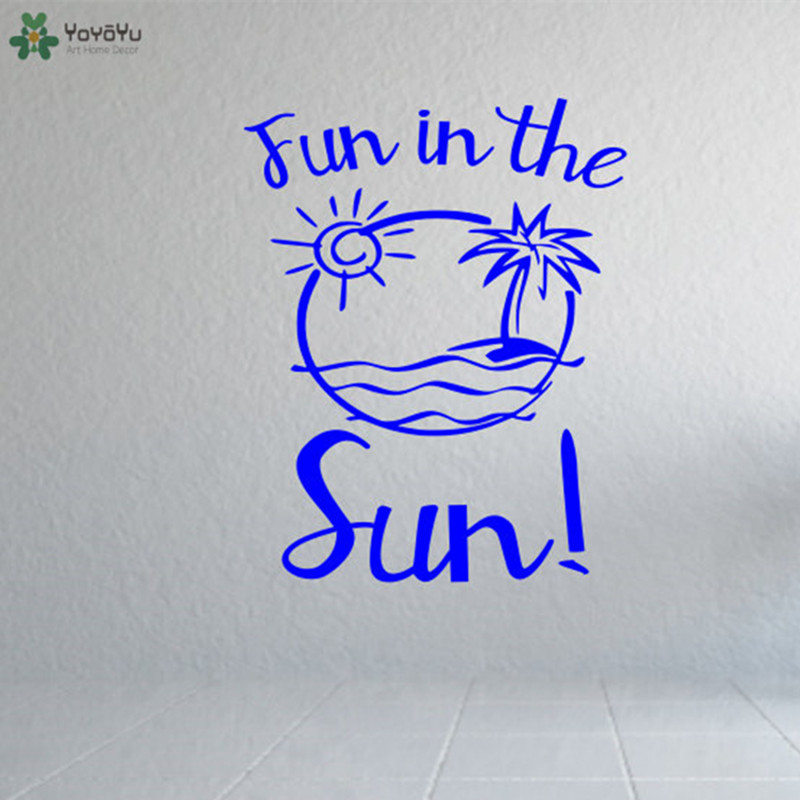 Summer Wall Decal Quotes Fun In The Sun Beach Pattern Palm Tree