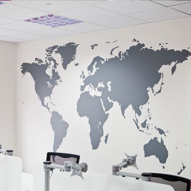 fashion large size world map vinyl wall decal map of world mural art