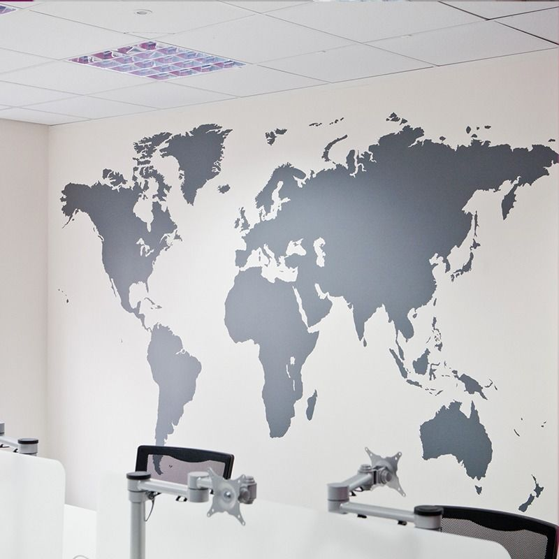 Fashion Large Size World Map Vinyl Wall Decal Map Of World Mural Art Office  Wall Sticker