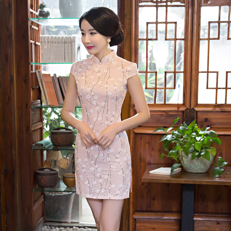 New Arrival fashion chinese cheongsam short qipao pink vintage women print tradicional oriental dresses party weeding clothes