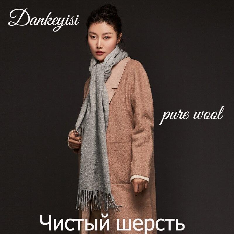 DANKEYISI Long Pure Wool   Scarf   Female Winter Women   Scarf   Men Warm Thick Wool Bandana Shawls Tassels Solid Warm   Scarves     Wrap   2018
