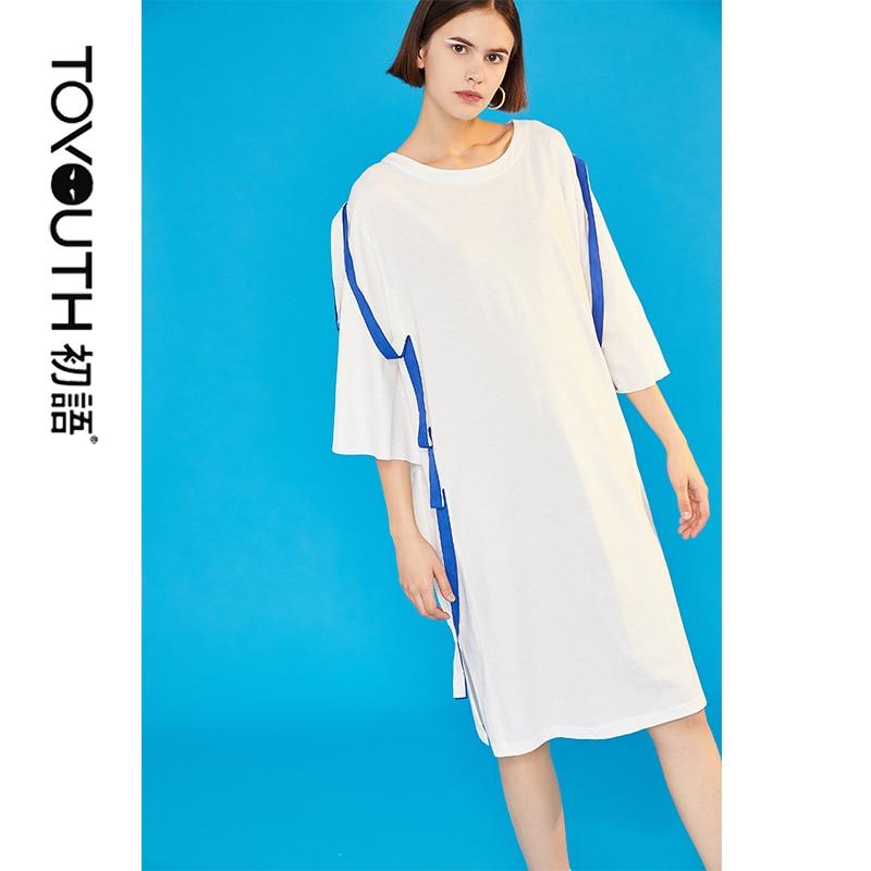 Toyouth Women Belt Patchwork Summer Dress Vintage Straight Oversize Slit O-neck Short Sleeve Long Casual Summer Vestidos