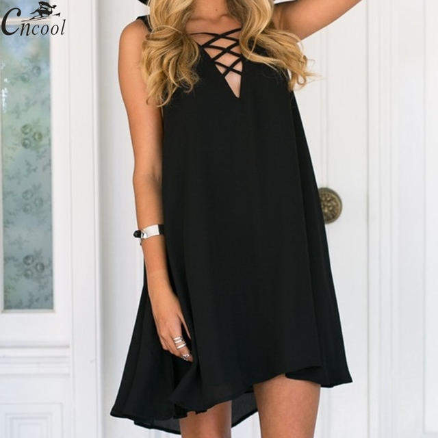 97a994353f4 2018 summer sexy dress women Chiffon office Dress elegant V neck Sleeveless  Casual dresses solid a line ladies Mini vestidos