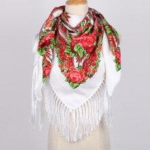 736935af1fe0 2017 Nouveau Modèle De Mode Russe Gland Écharpe Grand Carré Wraps Pashmina  Coton Imprimer Foulards Pour Femmes D hiver Wram flou.