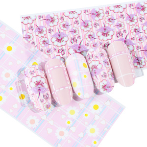 Image 5 - 10pcs Colorful Flowers Stickers On Nails Foil Transfer Starry Sky Summer Sliders For Manicure Nail Art Decals Decoration JI798