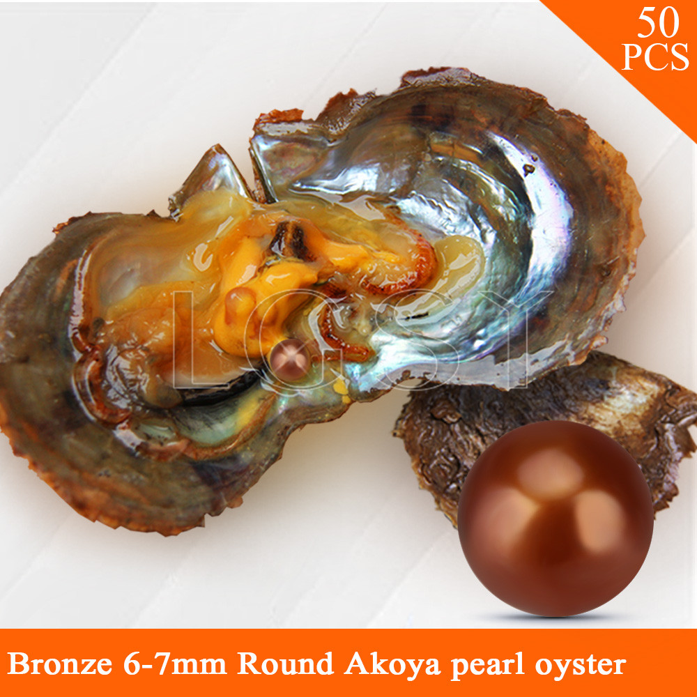 LGSY wholesale Bronze color beads 50pcs vacuum-packed oysters with 6-7mm round akoya pearls cluci free shipping get 40 pearls from 20pcs 6 7mm aaa blue round akoya oysters twins pearls in one oysters