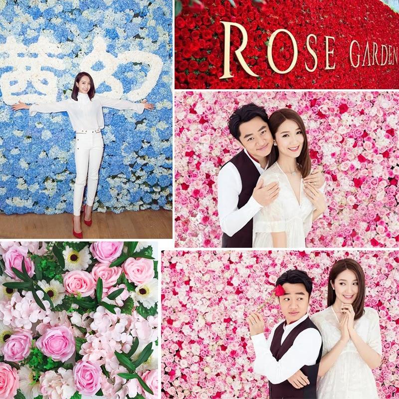 JAROWN Artificial Flower Row Simulation Rose Peony Hydrangea Background Wall Fake Flowers Wedding Feast Arrangement Props Flores (2)