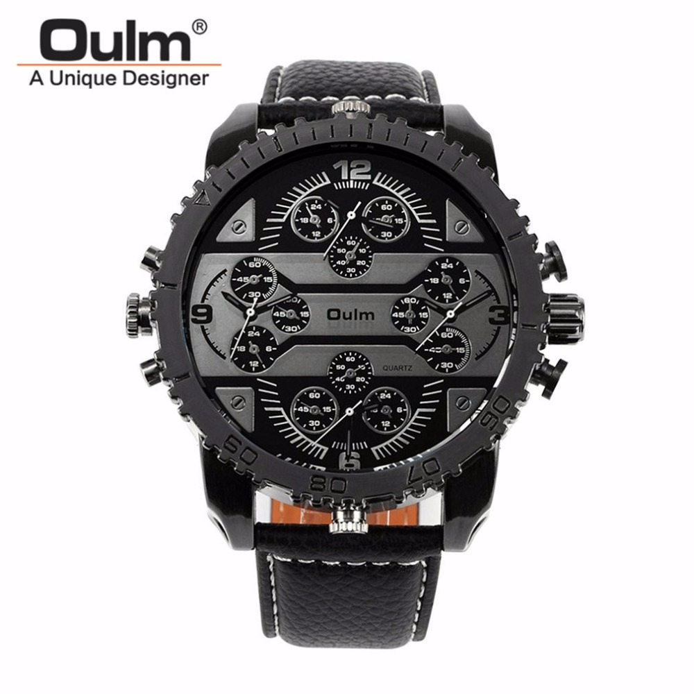 OULM Sports Winder Watch Men Military Army Clock Erkek Saat Waterproof Case 4 Time Zone Leather Strap Quartz Alloy Case Luxury 2 time zone army military oulm watch for men leather strap quartz japan movt quartz sports wristwatch