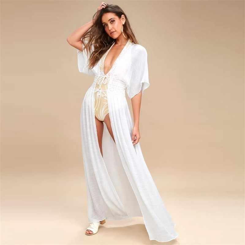 Длинная юбка, однотонная пляжная повязка, сексуальное пляжное платье, женский купальный костюм, полые летние накидки, новинка 2019, купальники