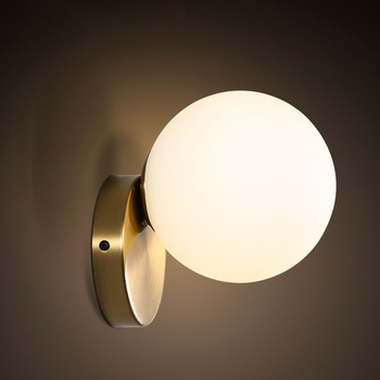 Modern ultra-simple glass wall lamp passage corridor bedroom bedside lamp AC85-265V milk white ball glass ball lampshade american retro village wall lamp e27 holder glass lampshade crystal bell style bedroom bedside lamp balcony corridor lighting