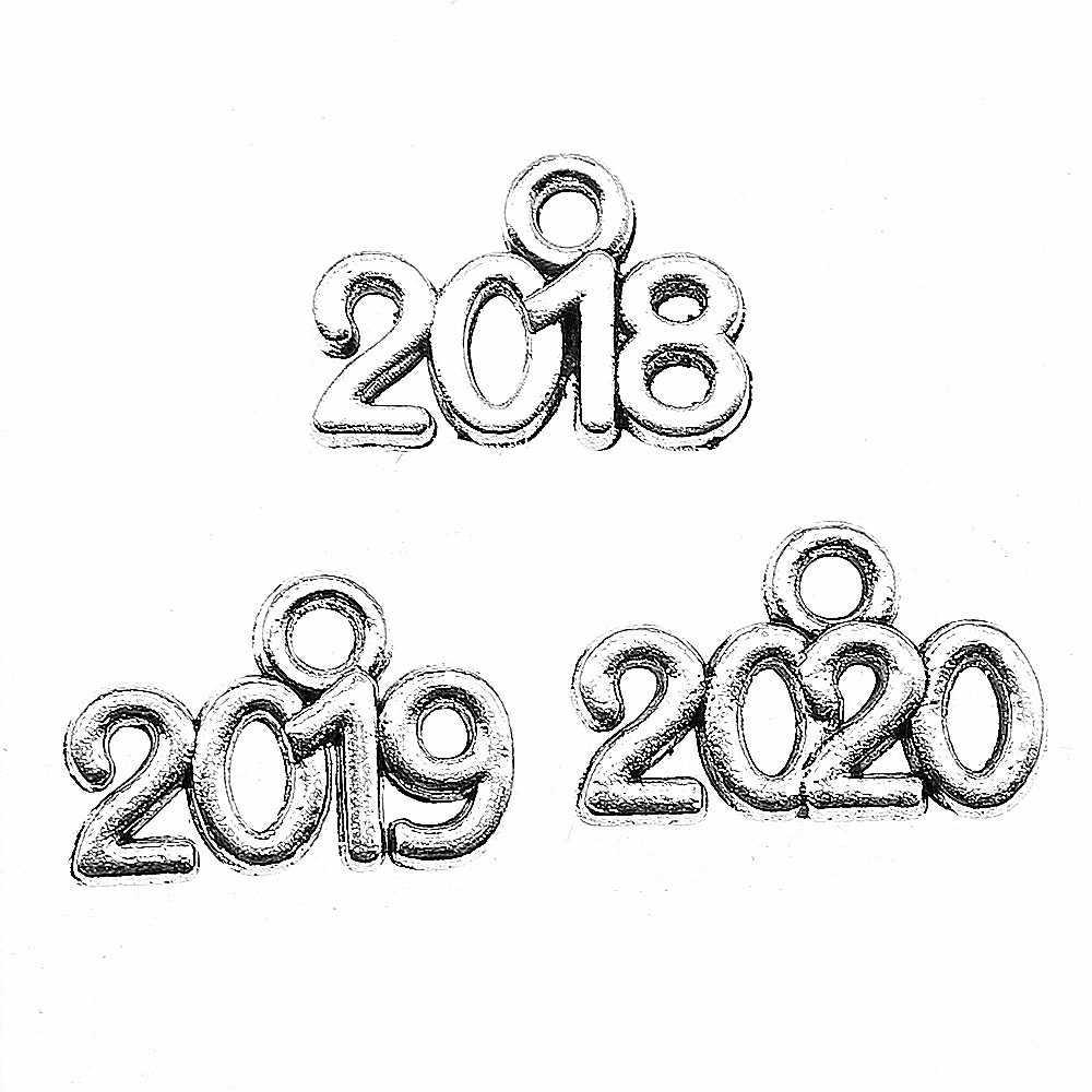 50pcs ปีจำนวน Charms 2019 2020 เงินโบราณ Charm จี้สำหรับเครื่องประดับทำปีจำนวน Charms