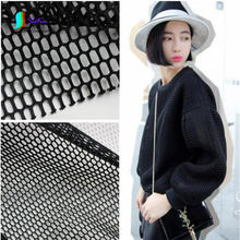 White/Black Fashion Large Grid Hollow Perspective Double-sided Air Layer Space Cotton Cloth/Dress Mesh Fabric,Width 140CM S0033J(China)