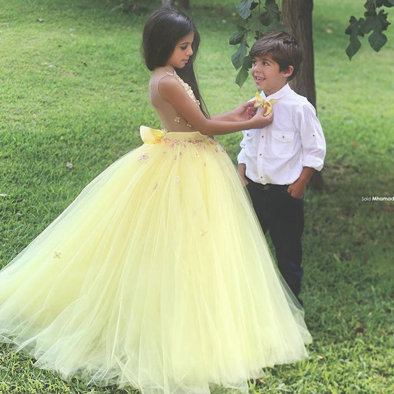 Sexy Ball Gown See Though Yellow   Flower     Girl     Dresses   V Neck Long   Girls   Pageant   Dress   Floral Appliques Little   Girl   Prom   Dress