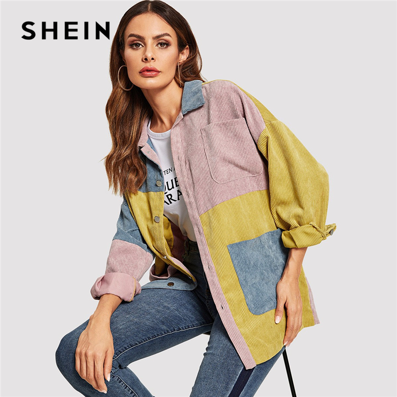 SHEIN Casual Multicolor Cut and Sew Pocket Front Corduroy Single Breasted Coat Autumn Modern Lady Women Coat Outerwear