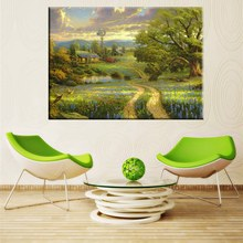 Housewarming Gift Room Decor Wall Art Countryside Farm Thomas Kinkade Pastoral Flowers Field Landscape Painting Prints on Canvas