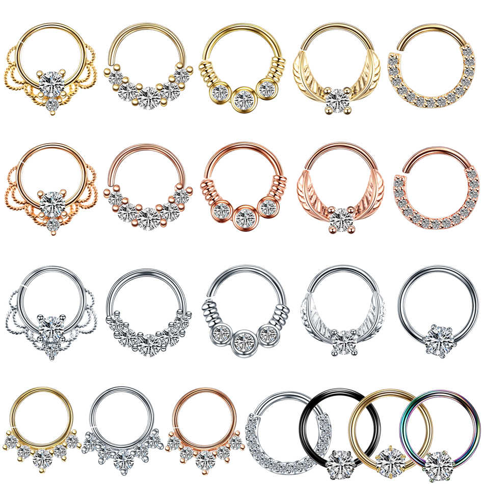1PC Copper Crystal Nose Hoop Rings Real Pierced Ear Septum Helix Daith Rook Gem Ear Tragus Labret Nose Clicker Piercing Jewelry