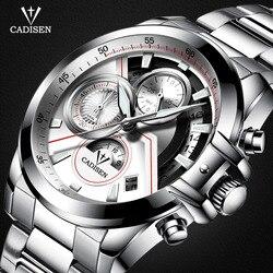Cadisen męski chronograf ze stali nierdzewnej zegarki kwarcowe z świecącymi rękami wodoodporny analogowy zegarek kwarcowy chłopcy C9016-S7