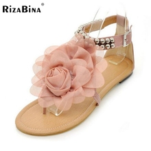 Rizabina große größe 34-43 gladiator sandalen frauen böhmen perlen sommer blume flachen absätzen flip-flops tstraps sandalen p11881