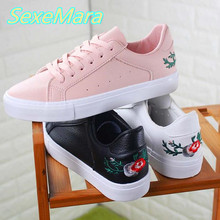 Pink Women Shoes Black Casual Shoes Woman Embroidery Flowers Woman Canvas Shoes 2017 Spring Lace Up Shoes Flats Chaussure Femmes